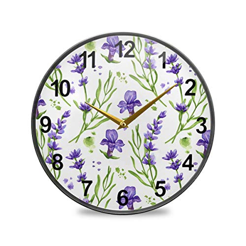 SUABO Bathroom Clock Violet Lavender Wall Clock 12 Inch Non-Ticking Silent Clocks for Living Room Decor