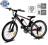 Hiriyt 26' Bicicleta eléctrica de montaña, 250W, Batería 36V E-Bike Sistema de Transmisión de 21 Velocidades con Linterna con Batería de Litio Desmontable con Tres Modos de Trabajo (26' Black)