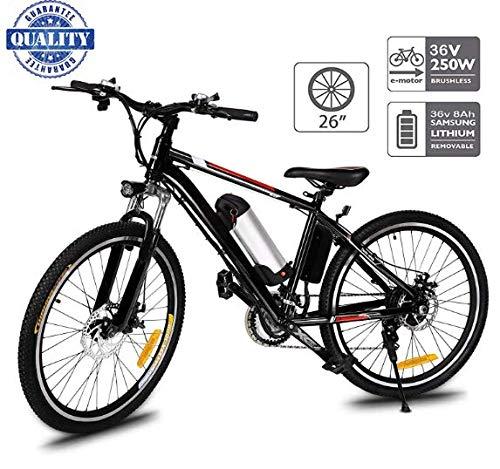 """Hiriyt 26"""" Bicicleta eléctrica de montaña, 250W, Batería 36V E-Bike Sistema de Transmisión de 21 Velocidades con Linterna con Batería de Litio Desmontable con Tres Modos de Trabajo (26"""" Black_1)"""
