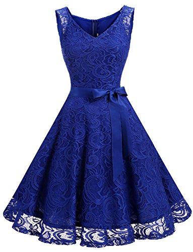 Dressystar DS0010 Brautjungfernkleid Ohne Arm Kleid Aus Spitzen Spitzenkleid Knielang Festliches Cocktailkleid Royalblau M