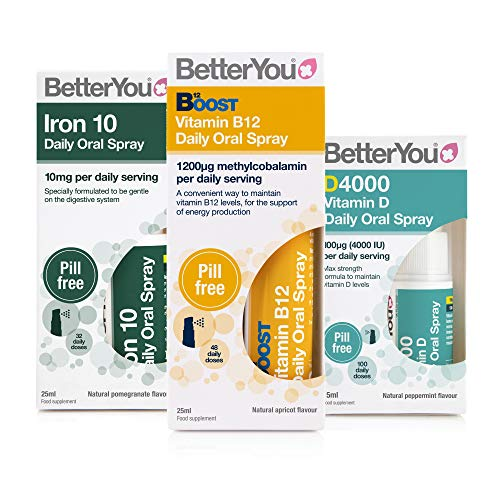 BetterYou Energy Boost Pack: Vitamin B12 + Vitamin DLux4000 + Iron 10 Oral Sprays (3 Pack)
