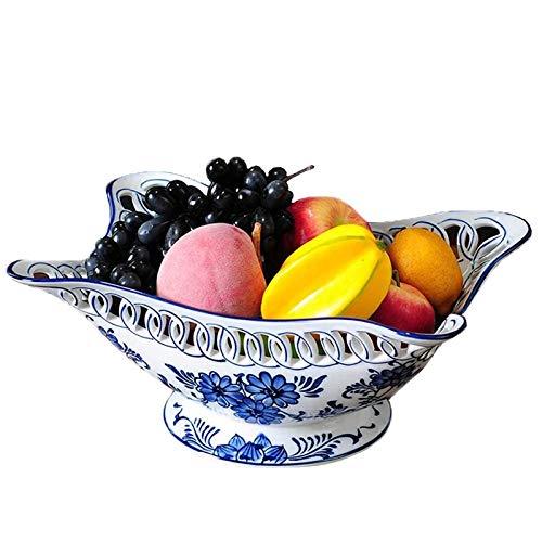 GaoF Cuenco Grande de cerámica para Ensalada de Frutas, Cuenco de Ensalada de Porcelana Azul y Blanca para nueces, bocadillos, postres, Frutas, Almacenamiento en el hogar