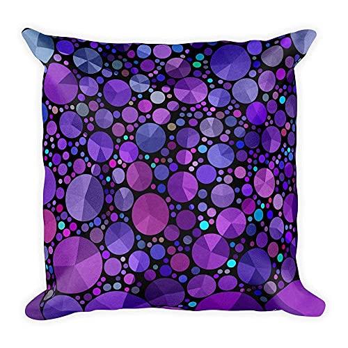 Federa per cuscino, 45,7 x 45,7 cm, colore viola con cerchi astratti scuri in tessuto lavorato a maglia, cuscino casual, per divano e soggiorno