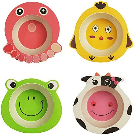 MANO 4Pack Bamboo Kids Bowls for Baby Feeding BPA Free Reusable Tableware Cereal Bowls Noodle product image