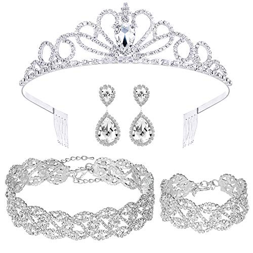 4 Pack Rhinestone Crystal Tiara Crown Choker Necklace Link Bracelet Teardrop Dangle Earrings Jewelry Sets for Women Girls, Bridal Wedding Bridesmaid Party Birthday Prom give Gift Box.