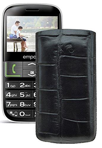 Original Suncase Tasche für / Emporia EUPHORIA V50 / Leder Etui Handytasche Ledertasche Schutzhülle Hülle Hülle - Lasche mit Rückzugfunktion* In Croco-Schwarz