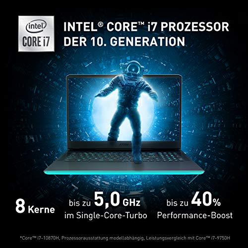 MSI GE76 Raider 10UE-290 17.3 Zoll FHD (1920*1080 Pixel / 240 Hz) Gaming Notebook (Comet Lake i7-10870H+HM470) NVIDIA GeForce RTX 3060 Laptop GPU 6 GB GDDR6 VRAM 1TB, Windows 10 Home