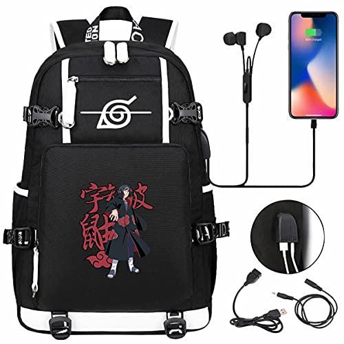 UCRHJJC Mochila escolar Naruto, mochila de moda informal con puerto de carga USB, ultrafino, resistente al agua y duradero