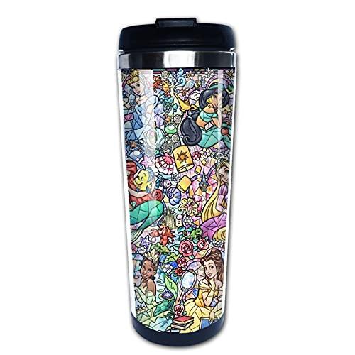 Taza de viaje con diseño de princesa Disney | Taza de café a prueba de derrames con aislamiento de doble pared de acero inoxidable, 13 onzas para la escuela