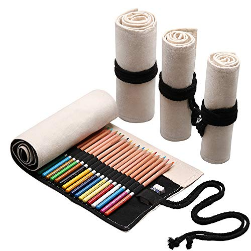 Funny live 36/48/72 Slots Colored Pencil Wrap Pencils Roll Holder Coloring Pencils Organizer Holder Colored Pen Paint Brush Storage Pouch Portable for Artist Student (White, 48 Slots)