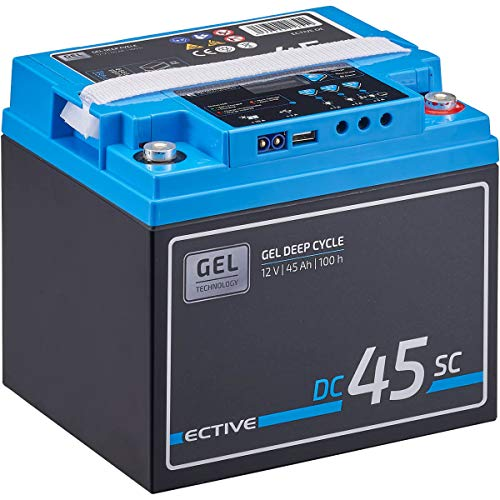 ECTIVE 45Ah 12V GEL Versorgungsbatterie DC 45sc mit LCD-Display Solar-Batterie mit integriertem PWM-Solarladeregler und Nachfüllpacks