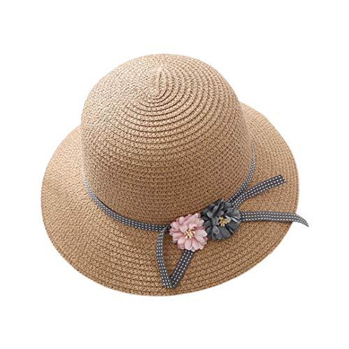Multifit Foldable Parent-Child Straw Hat Floppy Summer Beach Sunhat Packable Bucket Hat Cap for Women Girls(Child-Khaki 1)