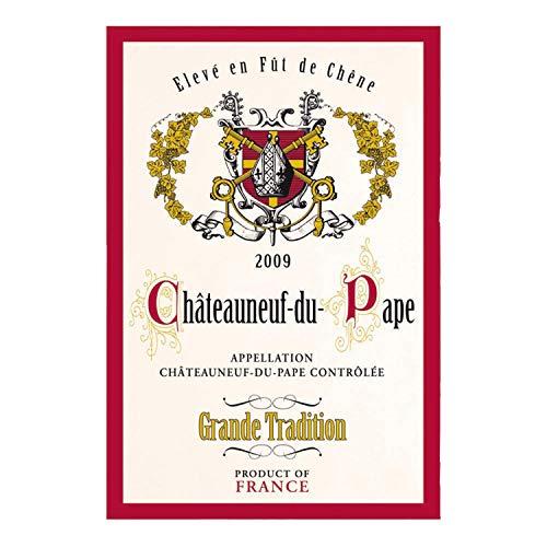 Torchons & bouchons – Français Célèbre vin Dessous-de-verre Inscription Chateauneuf Du Pape Serviette de cuisine en coton 48,3 x 71,1 cm