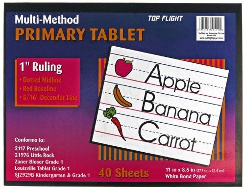 Top Flight Multi-Method First Grade Primary Tablet, 1 Zoll Lineal, Bond Paper, 27,9 x 21,6 cm, 40 Blatt (56415)