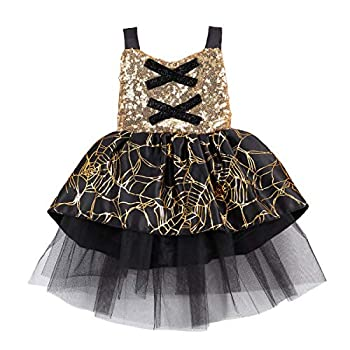 Toddler Baby Girl Halloween Costumes Spider Tulle Tutu Dress Party Ball Gown Dress Lace Cloak Outift Vampire Witch Costume  Black 12-18 Months