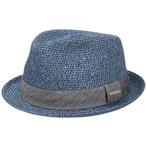 Stetson Reidton Toyo Trilby Strohhut Herren - Melierter Hut mit Garniturband - Sonnenhut aus Toyo-Stroh - Herrenhut - Sommerhut Frühjahr/Sommer - Trilbyhut blau L (58-59 cm)
