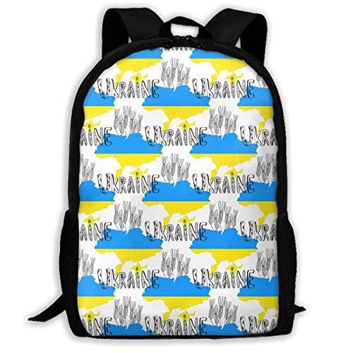 ADGBag Patriots Ukraine Country Silhouette Fashion Outdoor Shoulders Bag Durable Travel Camping for Kids Backpacks Shoulder Bag Book Scholl Travel Backpack Sac à Dos pour Enfants