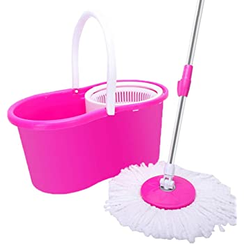 360 Spin Mop Cleaning Kit Floor Cleaning System with 2 Microfiber Mop Heads (Pink)