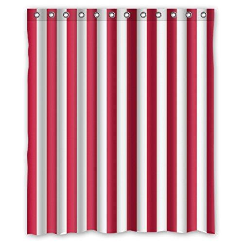 DOUBEE Personalisiert Weiß & Rot Gestreifte Regenbogen Badezimmer Wasserdichtes Duschvorhänge Shower Curtain 60