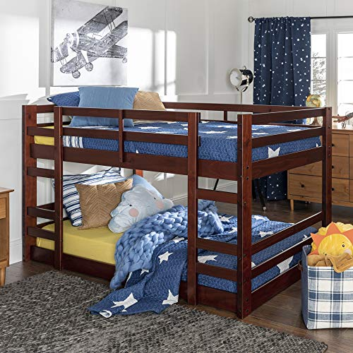 Walker Edison Alexander Classic Solid Wood Stackable Jr Twin over Twin Bunk Bed, Twin over Twin, Espresso