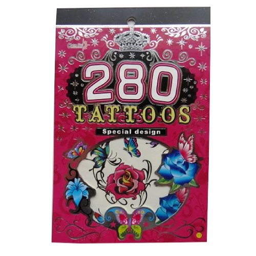 Transfer Temporary Tattoo Booklet - Flowers & Butterflies - 6 Sheets, various designs by Sb toys