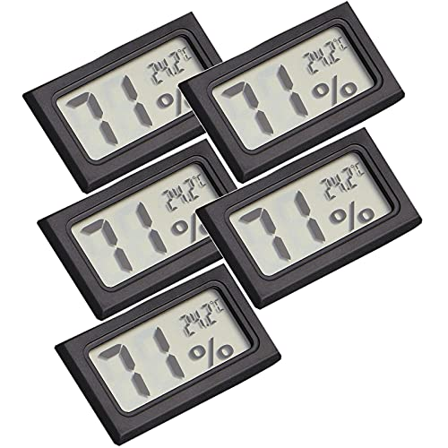 Sheey 5 Piezas Mini Sensor de Temperatura Electrónico Interior LCD, Herramientas de Comprobación de la Temperatura, para La Vida Cotidiana Inicio Trabajo (A, Negro)
