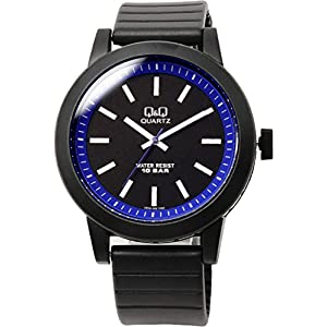 [シチズン Q&Q]腕時計 10気圧防水 ウレタンバンド カジュアル ポップ バイカラー レディース メンズ ボーイズ VR10J002 ブラック ブルー