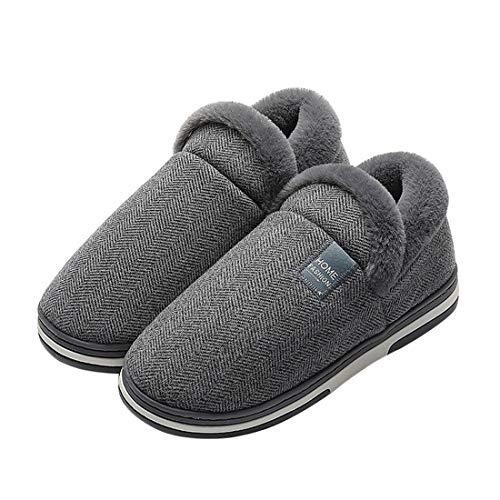 MoneRffi Damen Herren Hausschuhe Winter Memory Foam Pantoffeln Slip-on Weiche rutschfeste Indoor Warme Bequeme Slippers(dunkelgrau,42/43 EU)