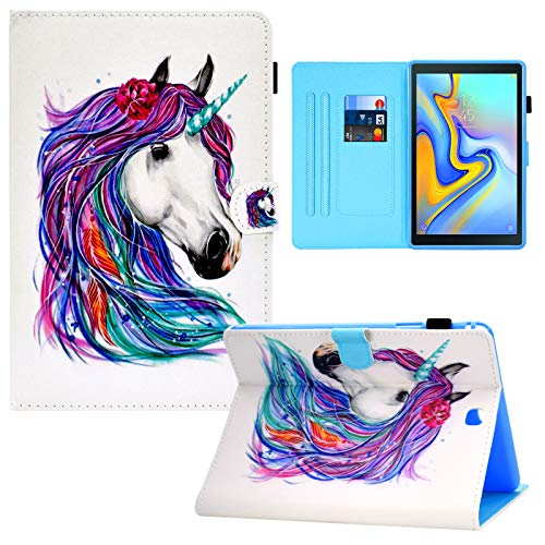 Galaxy Tab A 9.7 inch T550 Case, RASUNE Card Slot Case with Auto Sleep/Wake Feature Multiple Viewing PU Leather Case for Samsung Galaxy Tab A 9.7 Inch 2015 Release SM-T550 /SM-P550 -White Horse