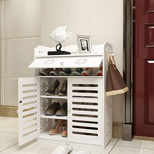 Zapateros para el hogar, 5 niveles, organizador de almacenamiento con soporte para zapatos, gabinete para zapatos, con puerta abatible superior y cajones adecuados para colocar en el dormitorio, la sa