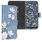 kwmobile Wallet Hülle kompatibel mit HTC Desire 19+ / 19s - Hülle Kunstleder mit Kartenfächern Stand Magnolien Taupe Weiß Blaugrau