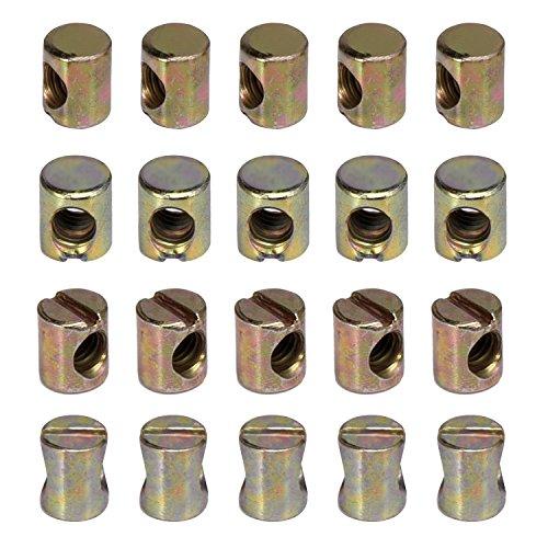 Schlitz M6 Barrel Nut Zylindermutter für Möbel Betten Krippe Stühle, 20 Stück