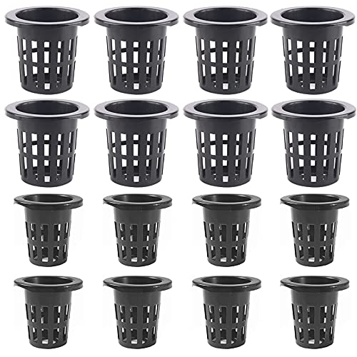Juego de 40 vasos de red de plástico hidropónico, macetas de malla ranuradas para jardín, macetas de almacenamiento resistentes, cestas redondas para hidropónica, acuapónica, orquídeas, 2 tamaños