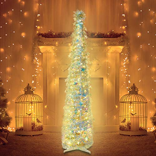 6ft Christmas Tinsel Tree with String Lights, Christmas Decorations Indoor, Pop up Christmas Tree with Stand Easy-Assembly, Big Xmas Decor for Bedrooms Office (Multicolor)
