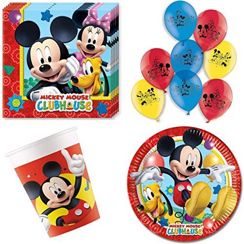 Party-Teufel® Disney Mickey Mouse Micki Maus Party-Set Tischgeschirr-Set 44-teilig Servietten Pappteller Becher und Luftballons für Kindergeburtstag Partygeschirr 8 Personen