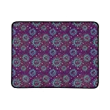 YSWPNA Blue Sun Moon and White Stars On Purple Pattern Portable and Foldable Blanket Mat 60x78 Inch Handy Mat for Camping Picnic Beach Indoor Outdoor Travel