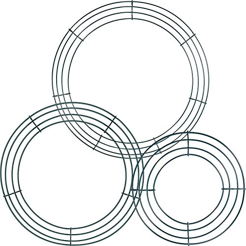 3 Pack Wire Wreath Rings Wire Wreath Frame for New Year Valentines Decoration, Dark Green (8 Inch, 12 Inch and 14 Inch)