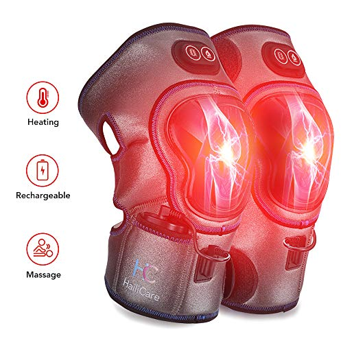 Heated Vibration Knee Massager, Knee Brace Wrap Physiotherapy Massager for Injury Pain Relief, Joint Warmer Therapy Pad for Arthritis Cramps Stiff Muscles, Best Gifts for Mom Dad Men Women