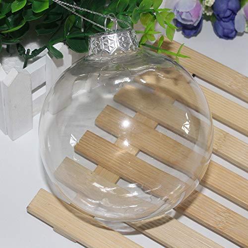 Duless Palline di Natale trasparenti in plastica per bricolage, 10 cm, palline di plastica trasparente per albero di Natale, decorazioni per matrimoni