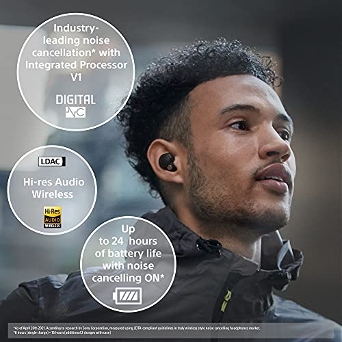 Sony WF-1000XM4 True Wireless Noise Cancelling Headphones - with Charging Case - Optimised for Alexa and the Google Assistant - with Built-in Mic for Phone Calls - Reliable Bluetooth Connection, Black