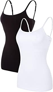 Womens Cotton Camisole Shelf Bra Cami Tank Top Strechy Undershirts 2 Pack