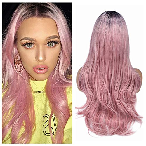 Quantum Love Baby Pink Dark Roots Wigs Glueless Cosplay Heat Resistant Synthetic Wig Long Straight Middle Part Pink Wig for Women