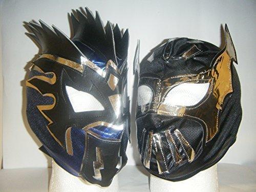WRESTLING MASKS UK Schwarz Sin Cara und Blau Kalisto - Kinder Reißverschluss auf Masken - Beide Enthalten