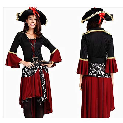 LYLLYL Disfraz de Pirata de Vestido Rojo de Dama Adulta, Disfraz ...