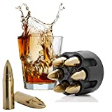 Bullet Whiskey Stones Gold with Base Extra Large Whiskey Ice Cubes Reusable - Cool Gifts for Men - 6 Bullet Ice Stones Stainless Steel in Revolver Base - Chilling Whiskey Rocks Gift Set By Koozam