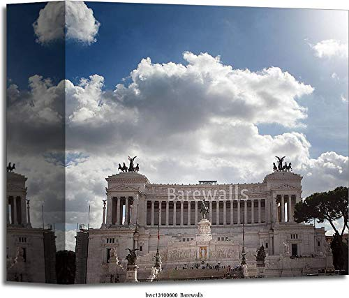 Vector I Love Rome Design with Symbols of Italian Culture. Gallery Wrapped Canvas Art (12in. x 12in.)