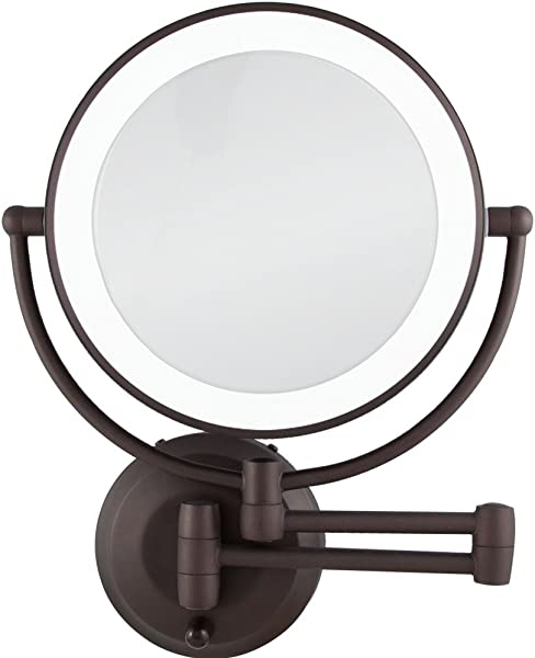 Zadro 10X 1X Magnification Cordless LED Lighted Dual Sided Wall Mirror 7 1 2 Inch Oil Rubbed Bronze