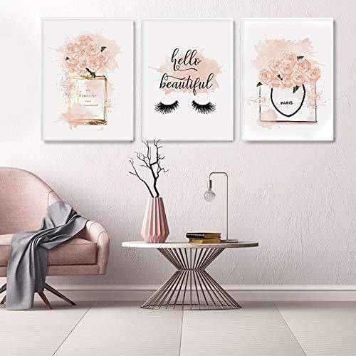 OCRTN Póster de Arte de Moda Rosa Rosa Perfume Impresión de Lienzo Pintura de Pared Salón de Belleza Decoración de habitación de niñas Imagen Decorativa Decoración del hogar - 30x40cmx3 Sin Marco