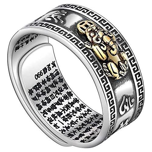 LYEC3 PiXiu Budista Corazón Sutra Anillo Plata de Ley PersonalidadFENG Anillo Shui Apertura Ajustable Mantra Amuleto Riqueza Anillo de la Suerte Los Mejores Regalos para Hombres y Mujeres Joyería