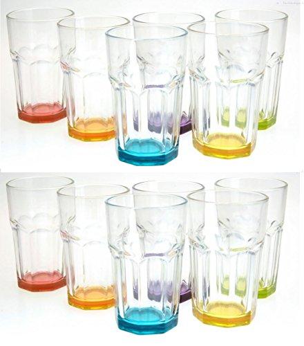 Trinkglas Cocktailglas Caipirinha Glas Transparent oder Farbig sortiert 300 ml, Farbe:Mehrfarbig sortiert, Stückzahl:12 Stück